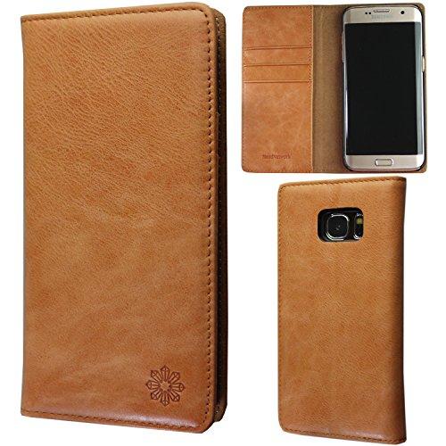 NeedNetwork Galaxy S7 Edge ギャラクシー ケースカバー 手帳型 本革 レザー 財布型 カードポケット スタンド機能 マグネット式 docomo SC-02H au SCV33 Samsung (Galaxy S7 Edge, キャメル)