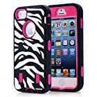 Oksobuy® Stylish Atmosphere Zebra Texture Deluxe Hard Soft High Impact Armor Case Combo for Apple Iphone 5