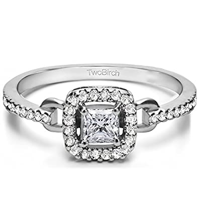 Silver Buckle Promise Ring with CZ (0.53 ct. twt.)