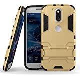 SDO™ Military Grade Version 2.0 With Kick Stand Hybrid Back Cover Case For Moto G Plus, 4th Gen (Gold)