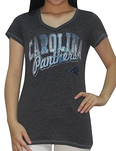 NFL Womens Carolina Panthers Athletic V-Neck Glitter T-Shirt XL Dark Grey & Blue