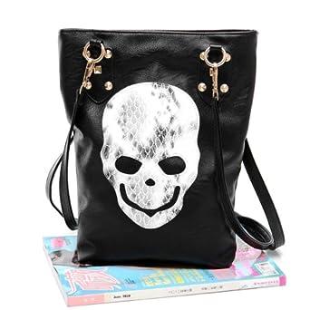 Luxury Women's Designer inspired Skull and Studs Tote Handbag Purse in Black