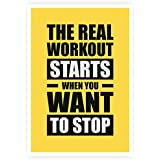 """Lab No. 4 The Real Workout Starts When You Want To Stop Gym Motivational Quotes Poster Size A3 (16.5"""" X 11.7"""")..."""