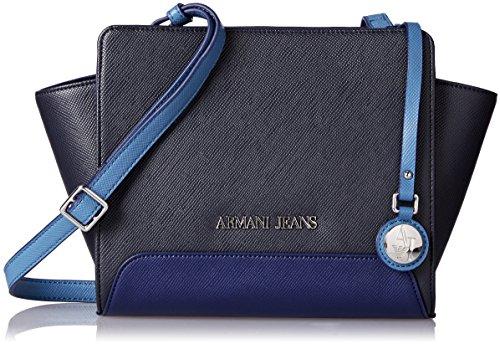 ARMANI JEANS Borsetta a spalla in saffiano bicolore BLU NAVY CELESTE 922551