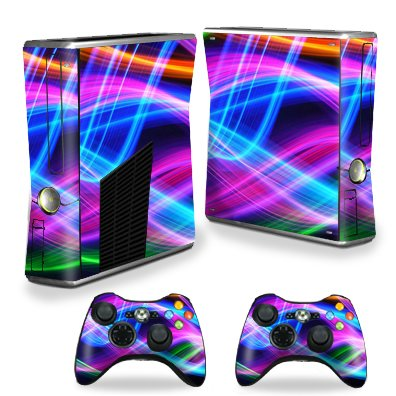 Protective Vinyl Skin Decal Cover for Microsoft Xbox 360 S Slim + 2 Controller Skins Sticker Skins Light waves