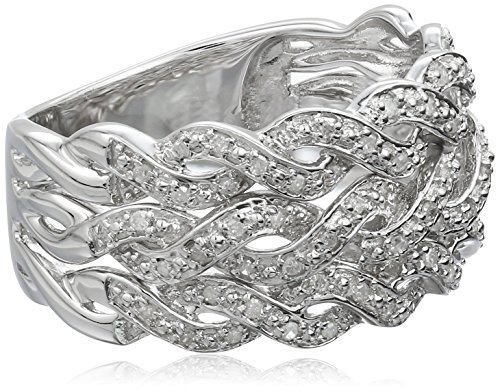 Sterling Silver Multi-Rope Diamond Ring (1/5cttw, I-J Color, I2-I3 Clarity), Size 7