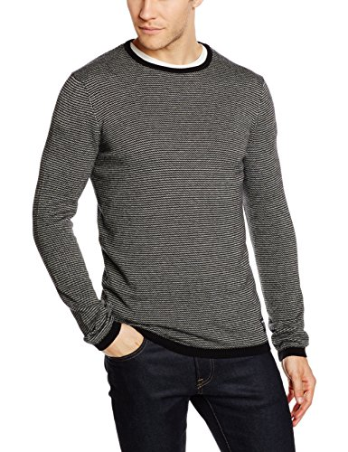 TOM TAILOR Denim mini jacquard crew, Felpa Uomo, Nero (black), XX-Large