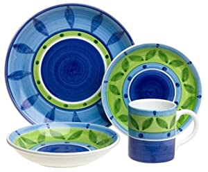 Caleca Bluemoon 16-Piece Dinnerware Set, Service for 4 by Caleca