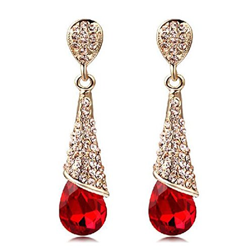 [Luck Wang Lady's Unique Retro Fashion Diamond Droplets Crystal Long Section Earrings(Red)] (Lady Thor Costumes)