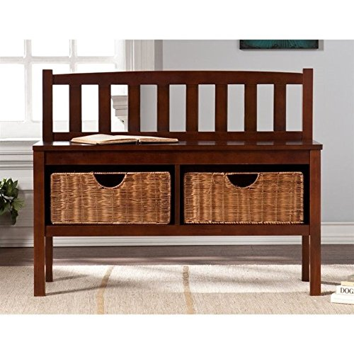 Bench with Storage Baskets in Espresso Finish (Storage Low Profile compare prices)