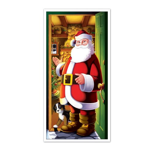 Santa Door Cover Party Accessory (1 count) (1/Pkg)