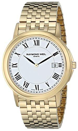 Raymond weil unisex 5466-P-00300 tradizione ingressi oro al quarzo display orologio da