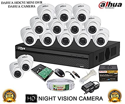 Dahua DH-HCVR4116HS-S2 16CH Dvr, 14(DH-HAC-HDW1000RP-360B) Dome Camera (With Accessories,2TB HDD)