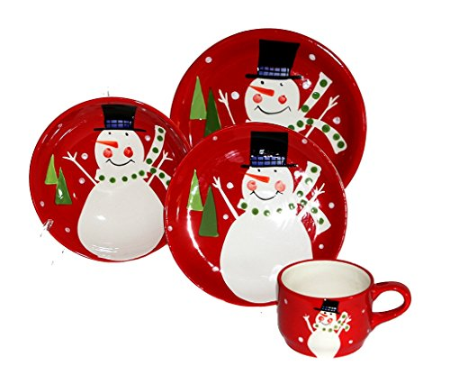 Christmas Snowman Collection Ceramic Hand Painted, 16-Piece Dinner Set, 87216and by ACK (Christmas Dishes compare prices)