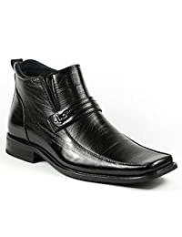 Delli Aldo M-689 Black Mens Square Toe Dress Ankle Boots Shoes w/ Leather Lining
