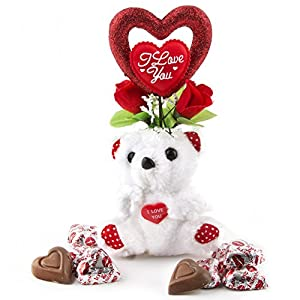 Valentines Day, Miniature I Love You Teddy Bear with Heart Milk Chocolate - Oh! Nuts