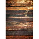Photography Weathered Faux Wood Floor Drop Background Mat Cf1055 Rubber Backing, 4'x5' High Quality Printing, Roll up for Easy Storage Photo Prop Carpet Mat