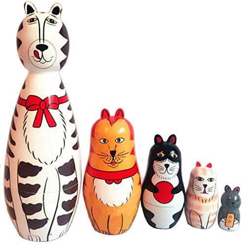 KingLight-5pcs-White-Cat-Nesting-Dolls-Wooden-Russian-Dolls-Matryoshka-Stacking-Toys