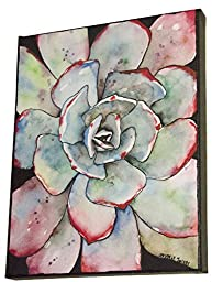 Grey Cactus Painting Wall Art Print Agave Succulent Watercolor Artwork on Canvas 8x10, Ready to Hang