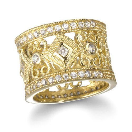 Gold Tone Lace White CZ Eternity Wide Band