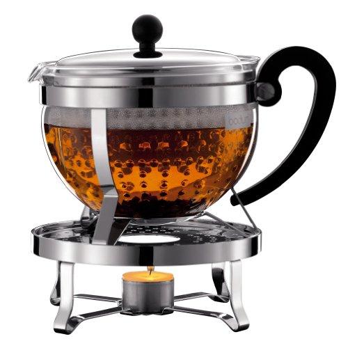 Bodum K11143-16 Chambord Set Tea Pot with Rechaud, 51 oz, Chrome (Chambord Teapot compare prices)