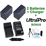 2-Pack NPF-970 / 960 / 950 High-Capacity Replacement Batteries With Rapid Travel Charger For Select Sony Camcorders. Bundle Includes UltraPro Accessory Set