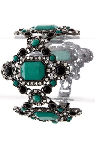 Karmas Canvas Emerald Cut Jewel With Fancy Edged Bracelet (Hematite)