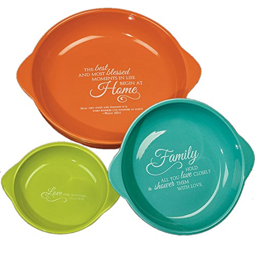 "Abbey Press ""Blooming Blessings"" Three-Piece Bakeware Set, 9.75 by 2.75"""