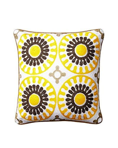 Happy Chic by Jonathan Adler Lola Medallion Pillow, Yellow/Grey Multi