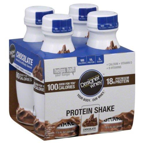 Designer Whey Shake, Chocolate, 10.5 Fluid Ounce (Pack Of 4)