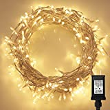 200 LED Indoor Fairy Lights w Remote & Timer on 69ft Clear String (8 Modes - Dimmable - Low Voltage Plug - Warm White)