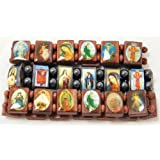 Religious Wood Bracelet Set of Three With Pictures Icons Of Jesus Mary And More