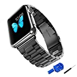 Apple Watch Band, NEXCEO 42mm Stainless Steel Replacement Link Bracelet Strap Classic iWatch Wristband with Double Button Folding Clasp for Apple Watch (42mm Black)