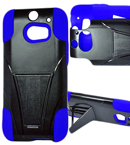 Mylife Wave Blue + Black {Layered Design} Two Piece Neo Hybrid (Shockproof Kickstand) Case For The All-New Htc One M8 Android Smartphone - Aka, 2Nd Gen Htc One (External Hard Fit Armor With Built In Kick Stand + Internal Soft Silicone Rubberized Flex Gel