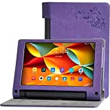 Deole TM Yoga Tab 3 8 inch Flower print case For Lenovo Yoga Tab3 YT3 850 YT3-850F YT3-850M YT3-850L Tablet Case PU Leather Flip Cover[ purple ] (Color: Purple)