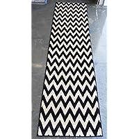 Chevron Area Rug Runner Design #440 Black