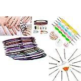 Insten 5 Pcs 2way Dotting Pen Marbleizing Tool + 15pcs White Nail Art Design Brush Set + 30 Pcs Glitter Striping Tape Line Sticker Kit Set