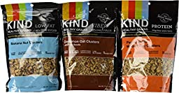 Kind Healthy Grains Clusters- Super Variety Packs 11 Oz (Pack of 3)---- Banana Nut + Cinnamon Oats W/flax + Peanut Butter Whole Grains