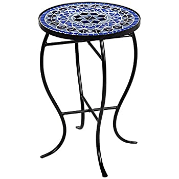 Cobalt Mosaic Black Iron Outdoor Accent Table