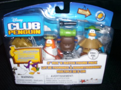 Buy Low Price Jakks Pacific Disney Club Penguin 2″ Mix N Match Figure Pack Camper & Fisherman Series 4 (B003BDDNNO)