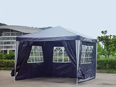 Pavillon PE Gartenzelt mit 4 Seitenteilen in Blau von Kronenburg ® auf Gartenmöbel von Du und Dein Garten