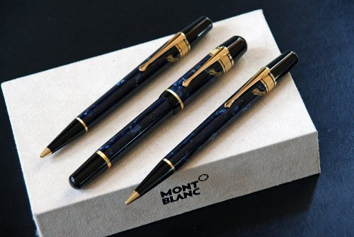 Mont Blanc Writers Edition 1998 E, A, Poe Set: Fountain Pen + Ballpoint Pen + Pencil