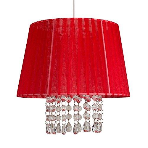 """'Lampadario a sospensione lampadario classico """"Uno paralume conico in voile/Crepe tessuto rosso Vibrant, decorato con cristalli chiaro acrilico. Cavo Elettrico compreso"""