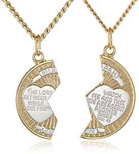 """14k Gold Filled Two-Tone Round Mizpah Pendant Necklace with Stainless Steel Chains, 20"""" and  24"""""""
