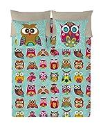 Valentina Juego De Funda Nórdica Multi Owls (Verde Agua/Multicolor)