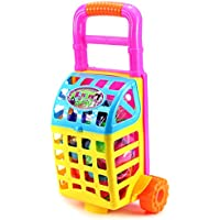 Happy Cooking Shopping Cart Childrens Kids Toy Food Play Set W/ Shopping Cart, Toy Stove, Utensils,