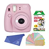 Fujifilm Instax Mini 8+ Instant Film Camera (Strawberry) with Instant Film - 2 x 10 Shoots (Total 20 Shoots) + Colorful Photo Frame Stickers 20 pcs. + withC Microfiber Cleaning Cloth