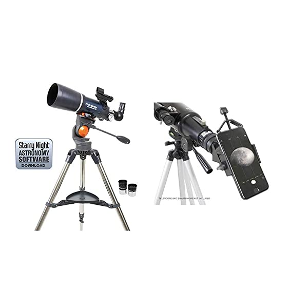 Celestron 21082 AstroMaster Refracting Telescope with Celestron 81035 Basic Smartphone Adapter 1.25 Capture Your Discoveries, Black (Color: Blue)