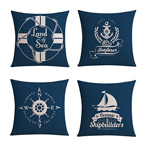【Bailand】Set of 4 Nautical Sea Side Theme Cushion cover,Sofa cushion Car Office Pillowcase,Beige Cotton Blend Linen Decorative Pillow Cover 18X18 Inch (45X45CM)