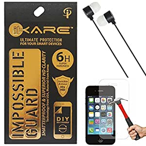 iKare Fiber Glass Screen Protector for Apple iPhone 4 4S + Black Stereo Earphone with Mic